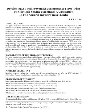 Prabandhan: Indian Journal of Management-PIJM-April12-Article2-Developing A Total Preventive Maintenance (TPM) Plan for Flatlock Sewing Machines : A Case Study in the Apparel Industry in Sri Lanka