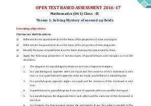 CBSE-CBSE OTBA Class 9 Mathematics 2017 Theme 1 (in English)