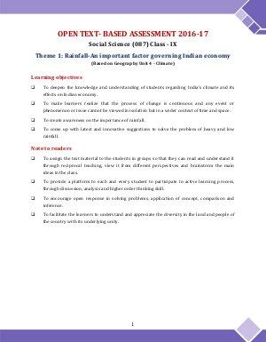 CBSE-CBSE OTBA Class 9 Social Science 2017 Theme 1 in English