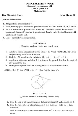 CBSE-CBSE Sample Paper for Class 10 Maths 2017 Question and Key