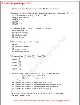 Engineering- WBJEE SAMPLE QUESTION PAPER 2