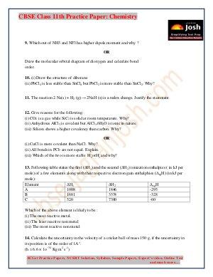 CBSE-class 11 chemistry practice paper 2017 set-1