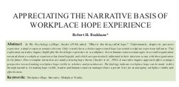 Journal of Organization and Human Behaviour-Appreciating the Narrative Basis of Workplace Hope Experience