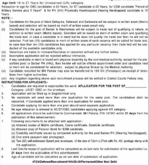 Education News-Commandant Military Hospital, Patiala Hiring 15 Posts of Washerman, Barber & Others