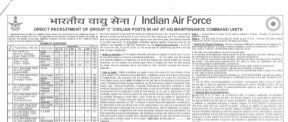 Education News-Join Indian Air Force, 10 and 12 Pass can apply for 154 Group C Civilian Posts