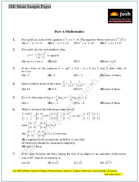 Engineering-JEE Main Sample Paper Set 12 Mathematics Questions
