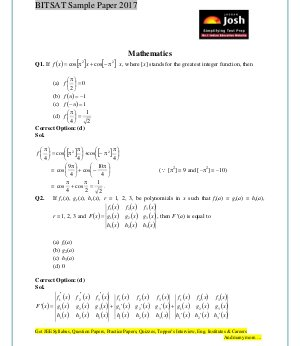 Engineering-BITSAT Mathematics Solved Sample Question Paper Set-1