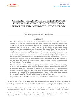 ACHIEVING ORGANISATIONAL EFFECTIVENESS THROUGH STRATEGIC FIT BETWEEN HUMAN RESOURCES AND INFORMATION TECHNOLOGY by P.C. Bahuguna and Dr. P. Kumari-ACHIEVING ORGANISATIONAL EFFECTIVENESS THROUGH STRATEGIC FIT BETWEEN HUMAN RESOURCES AND INFORMATION TECHNOLOGY by P.C. Bahuguna and Dr. P. Kumari