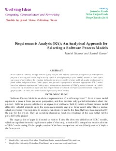 Requirements Analysis (RA): An Analytical Approach for Selecting a Software Process Models by Manish Sharma and Santosh Kumar-Requirements Analysis (RA): An Analytical Approach for Selecting a Software Process Models by Manish Sharma and Santosh Kumar