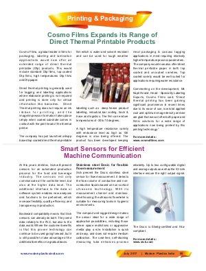 Modern Plastics India -Vol.18  | Issue - 06 | July 2017 | Mumbai