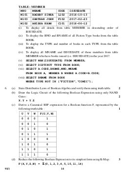 CBSE-CBSE Class 12 Computer Science Question Paper 2017 Delhi