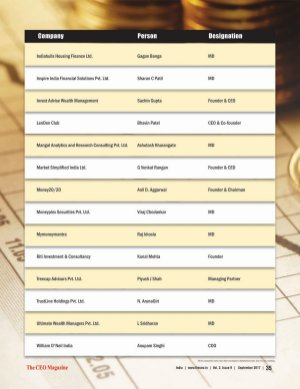 The CEO Magazine-The CEO Magazine, 25 Fastest Growing BFSI companies in india September 2017