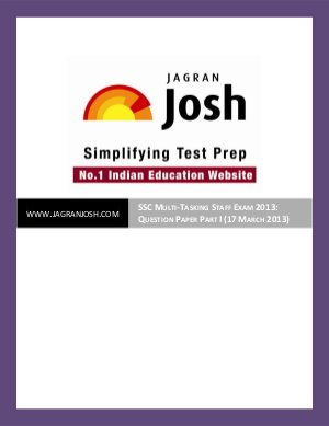 SSC-SSC Multi-Tasking Staff Exam 2013: Question Paper Part I (17 March 2013)