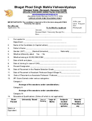 UGC-Bhagat Phool Singh Mahila Vishwavidyalaya Notified Recruitment for 42 Various Posts 2013