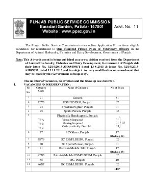 IAS-PCS-Punjab PSC Notified Recruitment for 115 Posts of Veterinary Officer 2014