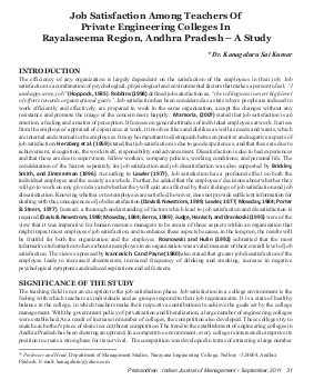 Prabandhan: Indian Journal of Management-PIJM-Sep11-Article4-Job Satisfaction Among Teachers Of Private Engineering Colleges In Rayalaseema Region, Andhra Pradesh – A Study