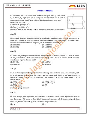 Education News-JEE Main 2013 Paper Part A Chemistry
