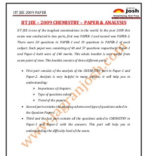 Education News-IITJEE 2009 Chemistry