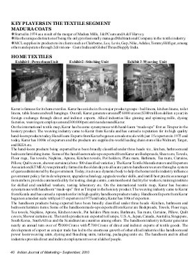 Indian Journal of Marketing-IJM-Sep10-Article6-Production Problems In Textile Industry With Special Reference To Karur District, Tamil Nadu