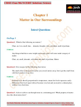 CBSE-CBSE Class 9 NCERT Solution Science Matter in our Surroundings