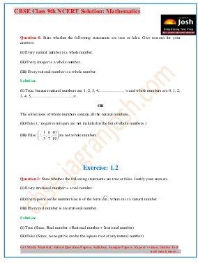CBSE-CBSE Class 9 NCERT Solution Mathematics Number System