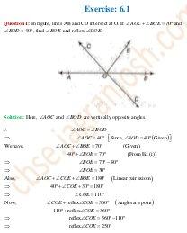 CBSE-CBSE Class 9 NCERT Solution Mathematics Lines and Angles