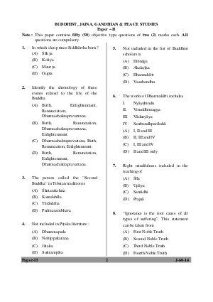 UGC-UGC NET June 2014 Question Paper - Buddhist, Jaina, Gandhian & Peacestudies Paper II