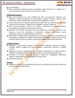 Education News-JEE Advanced 2015 Syllabus Mathematics