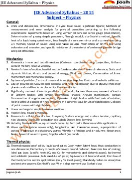 Education News-JEE Advanced 2015 Syllabus Physics