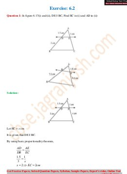 CBSE-CBSE Class 10 NCERT Solution Mathematics Triangle