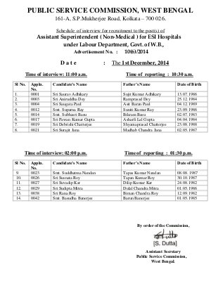 IAS-PCS-WBPSC Announced Interview Schedule for the Post of Assistant Superintendent (Non-Medical)