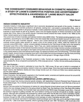 Indian Journal of Marketing-IJM-Dec07-Article1-The Consequent Consumer Behaviour in Cosmetic Industry - A Study of Lakme's Competitive Position and Advertisement Effectiveness & Awareness of Lakme Beauty Salon in Baroda City