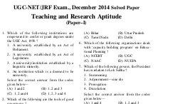 U.G.C.-NET/JRF/SET Teaching & Research Aptitude (General Paper-1)-Thu Apr 09, 2015
