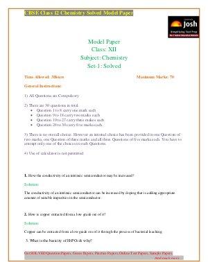 CBSE-CBSE Class 12th Chemistry Solved Model Paper Set 1