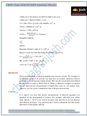 CBSE-Units and Measurement CBSE Class 11 NCERT Solution