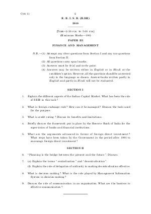 Banking-2010-GR-B-DR-Gen-Paper-III-Finance and Management