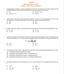 Engineering-WBJEE Physics & Chemistry Paper 2015