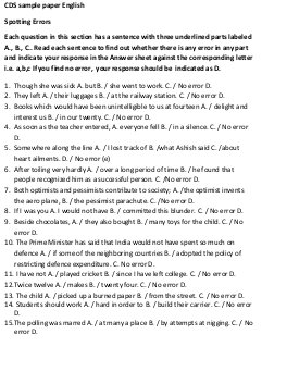 UPSC-CDS Exam 2016 English Sample Paper