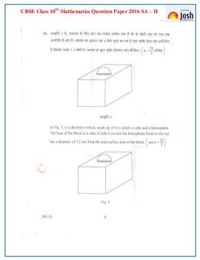 CBSE-CBSE Class 10 Mathematics Question Paper SA ‒ II 2016