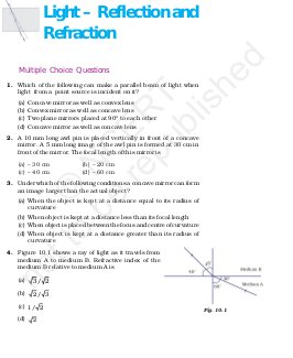 CBSE-NCERT Exemplar Questions & Solutions CBSE Class 10 Science - Light - Reflection and Refraction