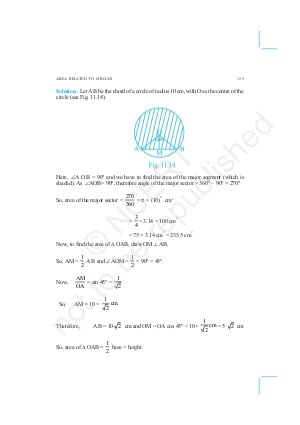 CBSE-NCERT Exemplar Questions & Solutions CBSE Class 10 Mathematics Chapter 11 Areas Related to Circles