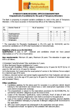 Banking-Syndicate Bank Recruitment 2016 for 37 Temporary Attenders, Apply by 22 October