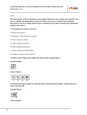 SSC-General Intelligence & Reasoning SSC Exams- New practice set