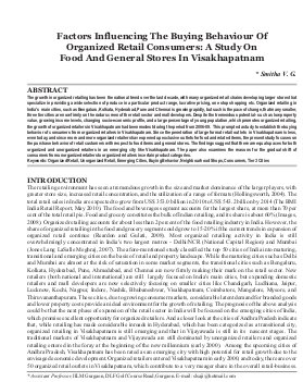Indian Journal of Marketing-IJM-Dec12-Article3-Factors Influencing The Buying Behaviour Of Organised Retail Consumers: A Study On Food And General Stores In Visakhapatnam